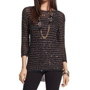 Chico's Black Gold Sparkle Stripe Pullover Sweater